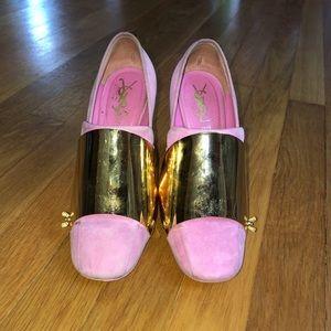 YSL gold plate heels
